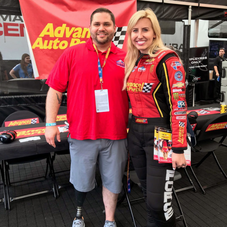 Courtney Force and Veteran Chris Claude