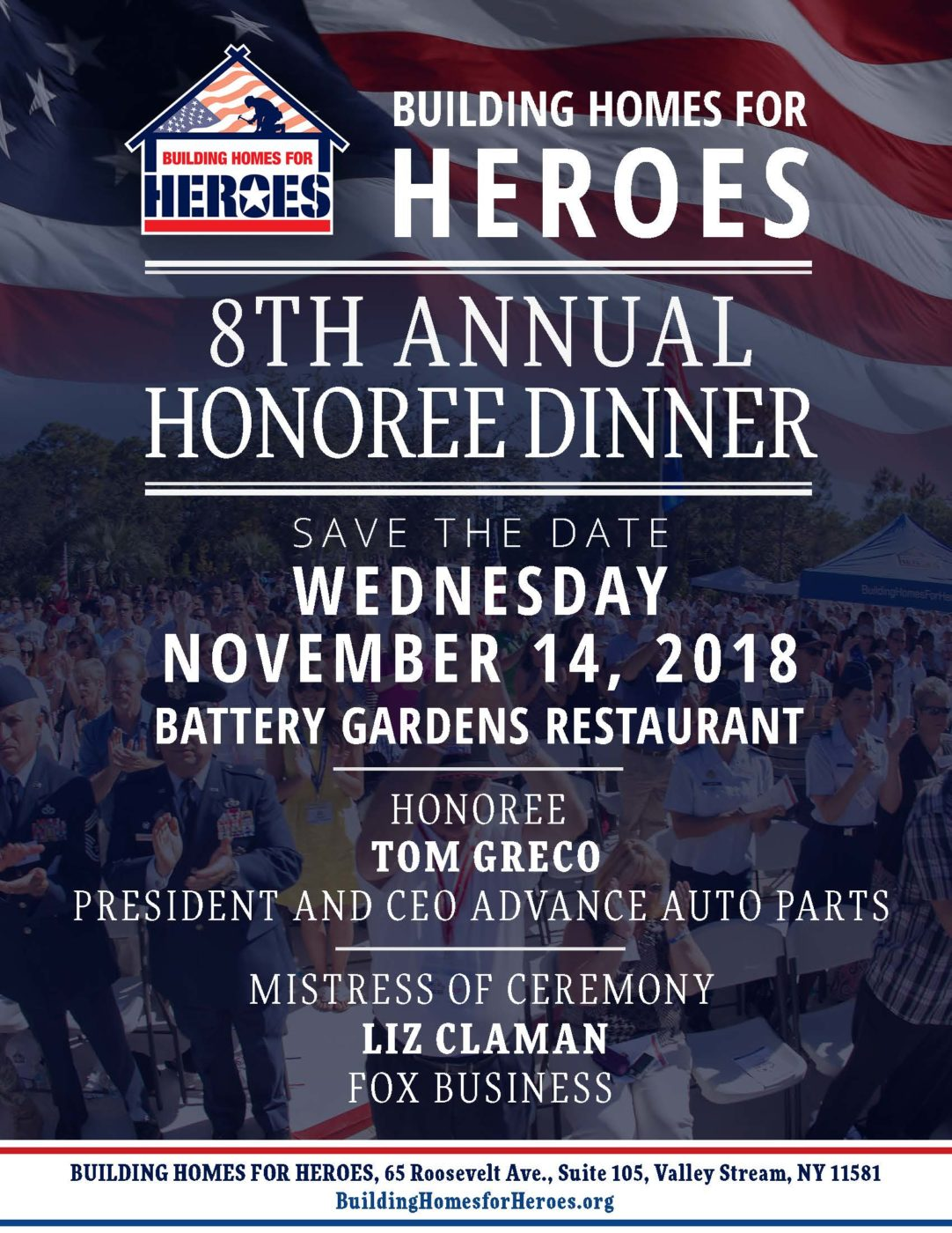 8th Annual Honoree Dinner Save the Date! @ Battery Gardens