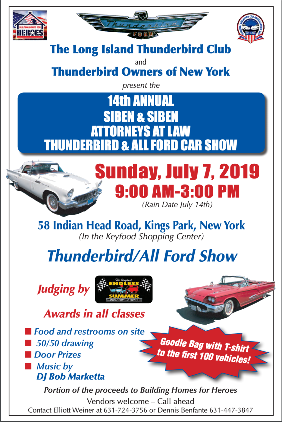 2019 Thunderbird Club Car Show / Fundraiser @ Keyfood Shopping Center | Kings Park | New York | United States